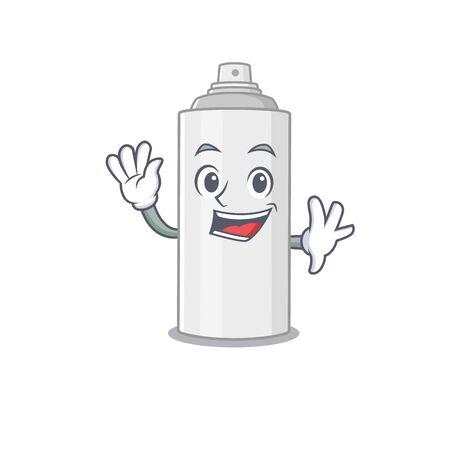 A charismatic hair spray mascot design concept smiling and waving hand. Vector illustration Ilustração