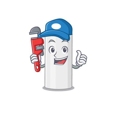 cartoon mascot design of hair spray as a Plumber with tool. Vector illustration