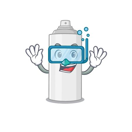 Hair spray mascot design swims with diving glasses. Vector illustration