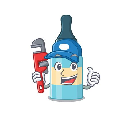 cartoon mascot design of hair oil as a Plumber with tool. Vector illustration