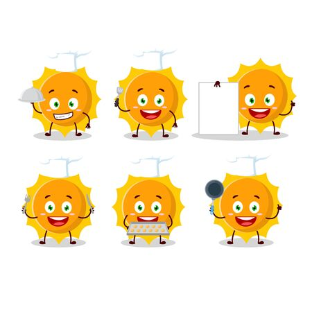 Cartoon character of sun with various chef emoticons.Vector illustration