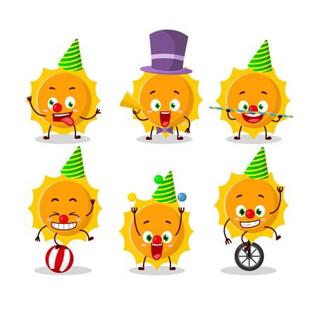 Cartoon character of sun with various circus shows.Vector illustration