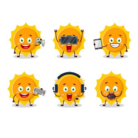 Sun cartoon character are playing games with various cute emoticons.Vector illustration