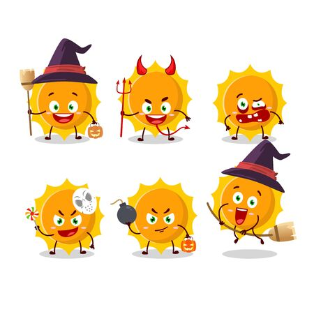 Halloween expression emoticons with cartoon character of sun.Vector illustration