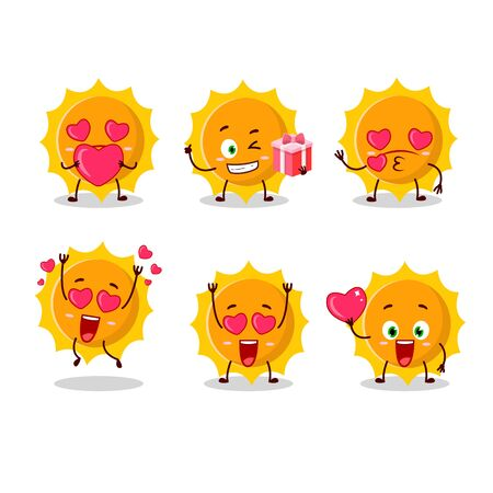 Sun cartoon character with love cute emoticon.Vector illustration