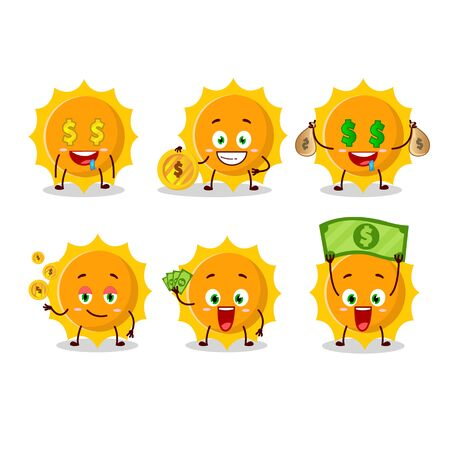 Sun cartoon character with cute emoticon bring money.Vector illustration