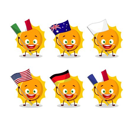 Sun cartoon character bring the flags of various countries.Vector illustration