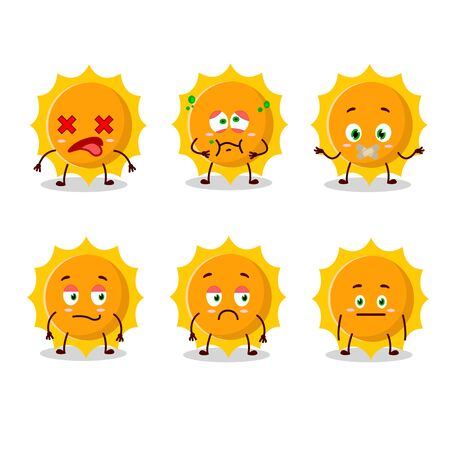 Sun cartoon in character with nope expression.Vector illustration