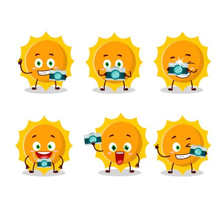 Photographer profession emoticon with sun cartoon character.Vector illustration