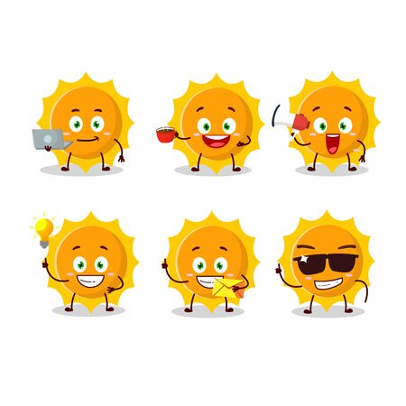 Sun cartoon character with various types of business emoticons