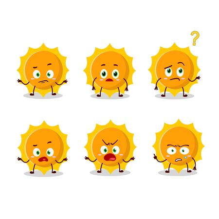 Cartoon character of sun with what expression