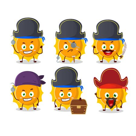 Cartoon character of sun with various pirates emoticons