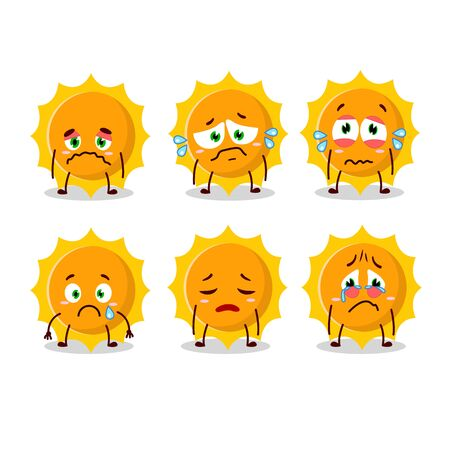 Sun cartoon in character with sad expression