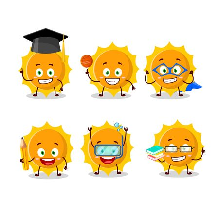 School student of sun cartoon character with various expressions 向量圖像