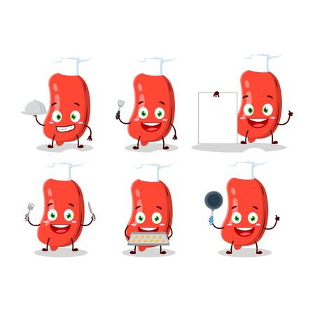 Cartoon character of sausage with various chef emoticons