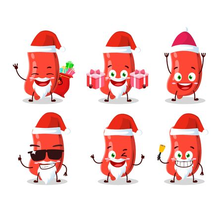 Santa Claus emoticons with sausage cartoon character