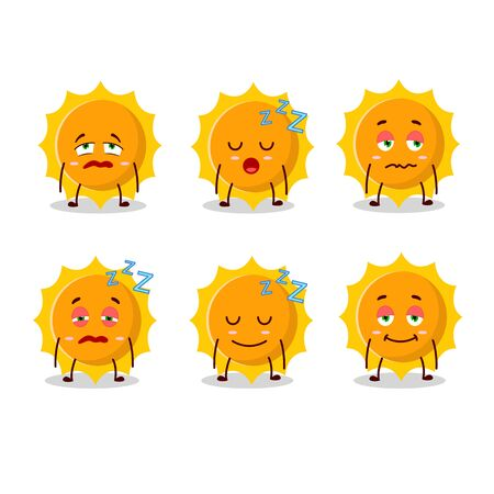Cartoon character of sun with sleepy expression