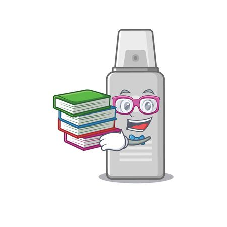Shaving foam student mascot design read many books when study at home