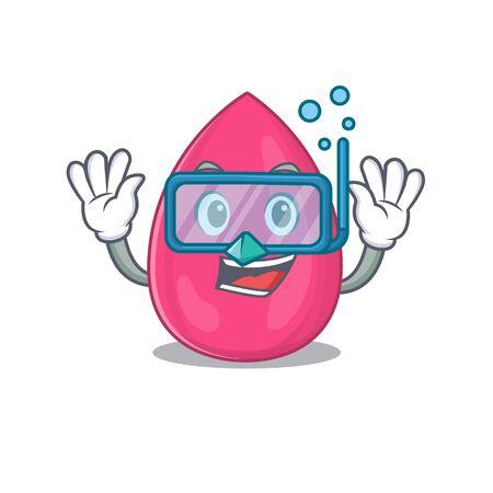 Makeup sponge mascot design swims with diving glasses. Vector illustration
