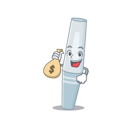 Crazy rich Cartoon picture of mascara having money bags. Vector illustration