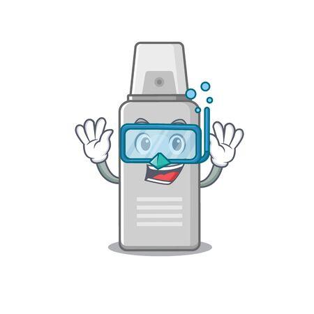 Shaving foam mascot design swims with diving glasses. Vector illustration Illustration