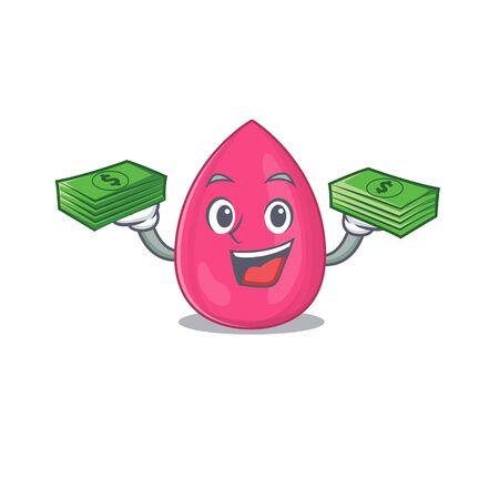 A wealthy makeup sponge cartoon character having much money on hands. Vector illustration