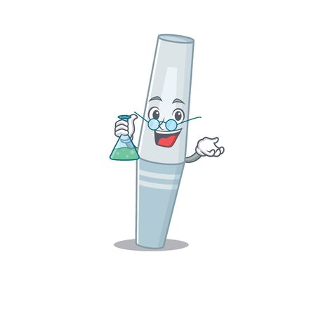 Super Genius Professor of mascara Caricature character working on a lab. Vector illustration