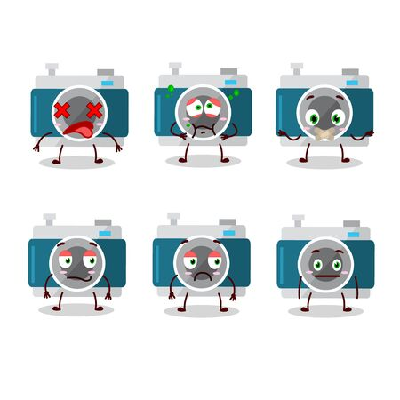 camera pocket cartoon in character with nope expression.Vector illustration