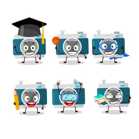 School student of camera pocket cartoon character with various expressions.Vector illustration