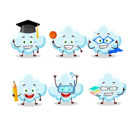 School student of cloud cartoon character with various expressions.Vector illustration