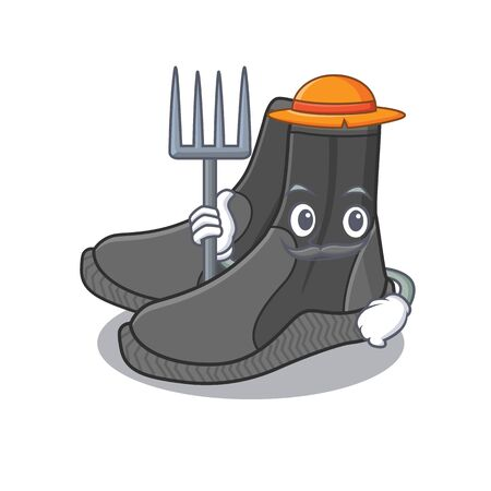 Farmer dive booties mascot design working with a hat