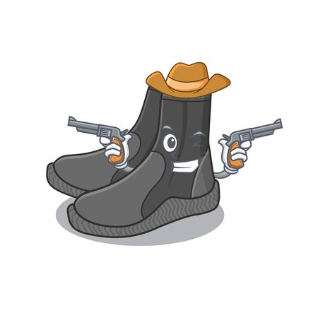 A wise cowboy of dive booties Cartoon design with guns