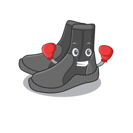 Dive booties Caricature character design as a champion of boxing competition