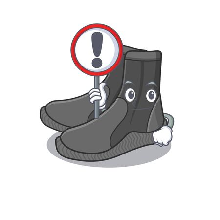 A cartoon icon of dive booties with a exclamation sign board