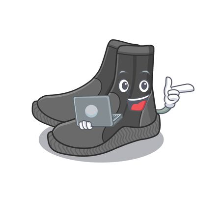 A neat cartoon character of dive booties l working at home during pandemic