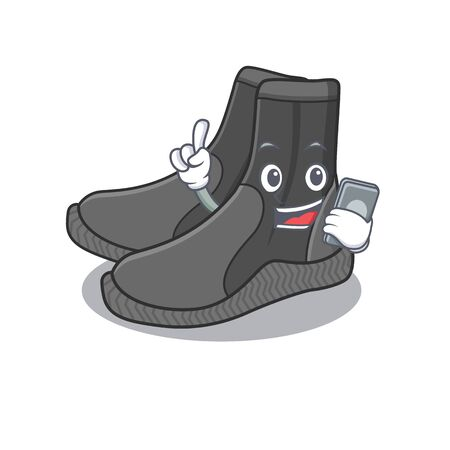 caricature character design style of dive booties speaking on phone