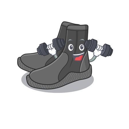 Muscular dive booties mascot design with barbells during exercise
