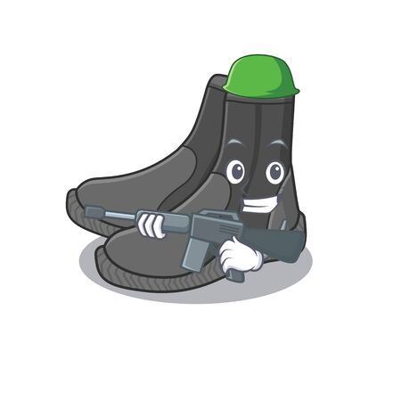 A charming army dive booties cartoon picture style having a machine gun