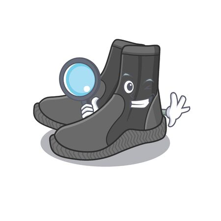 cartoon mascot design of dive booties superb Detective breaking the case using tools 向量圖像