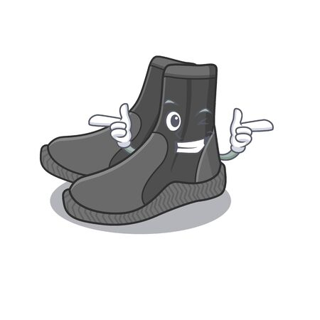 Caricature design concept of dive booties with funny wink eye