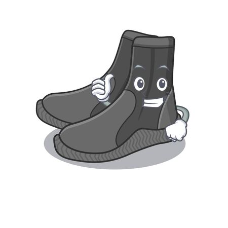 Dive booties cartoon picture design showing OK finger pose 向量圖像