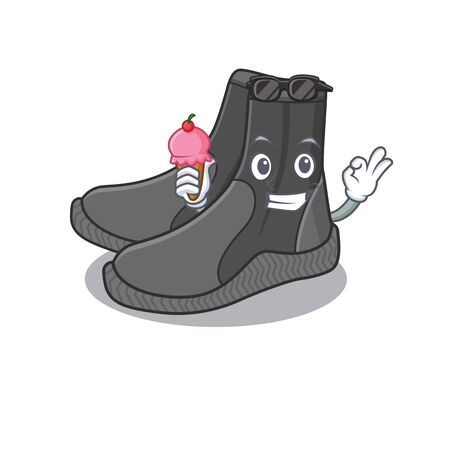 A Caricature design concept of dive booties with cone ice cream 向量圖像