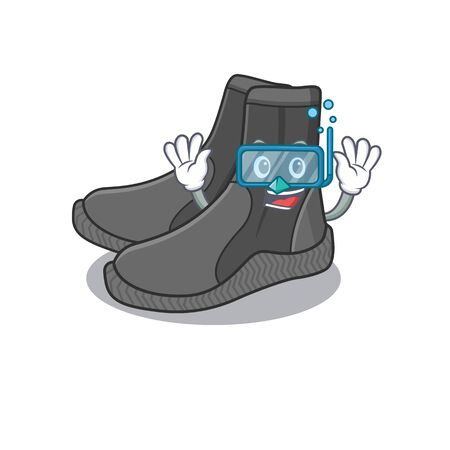 Dive booties mascot design swims with diving glasses 向量圖像