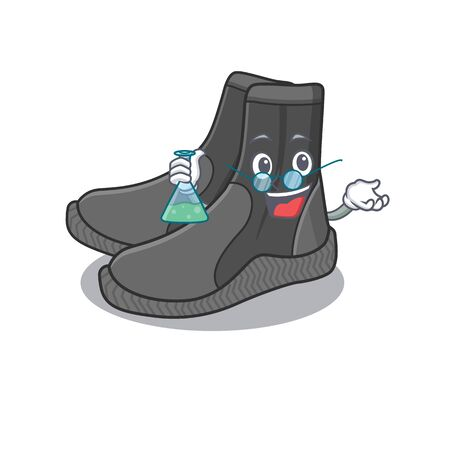 Super Genius Professor of dive booties Caricature character working on a lab 向量圖像