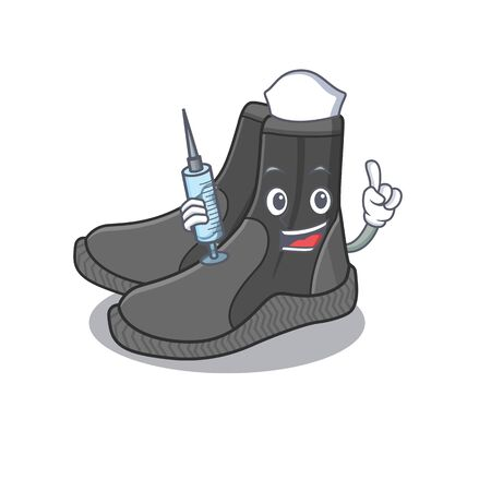 A dedicate dive booties nurse mascot design with a syringe