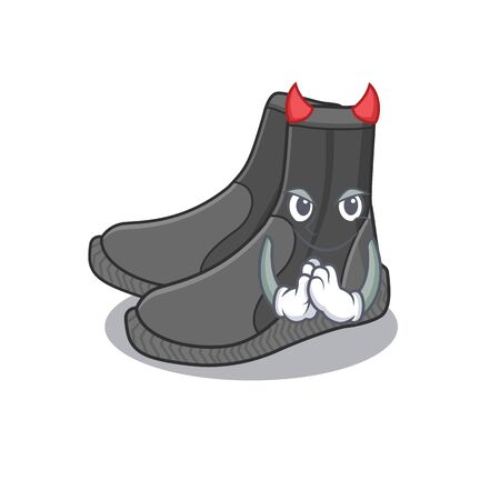 Dive booties clothed as devil cartoon character design on Halloween night