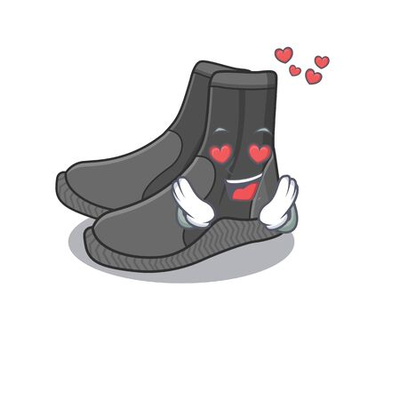 A passionate dive booties cartoon mascot concept has a falling in love eyes
