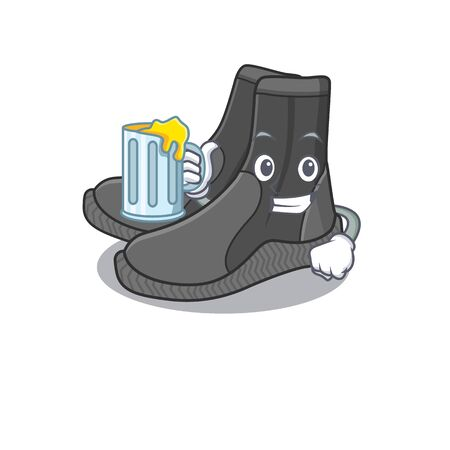 A cartoon concept of dive booties toast with a glass of beer