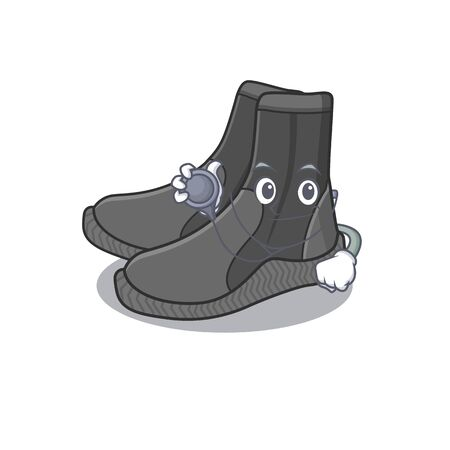 A dedicated dive booties doctor caricature design working with tools