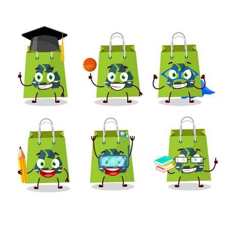 School student of recycle bag cartoon character with various expressions
